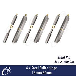 6 x Hinge Steel Bullet 13mm x 80mm Greasable Weld Trailer Gate Door Brass Washer