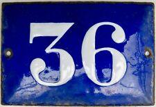 PLAQUE EMAILLEE VINTAGE NUMERO DE RUE N° 36, 15 x10,4 CM