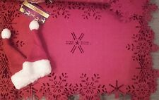 Christmas 4 table placemats santa chair covers wine bottle tops napkins rings