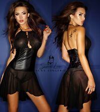Vestito Abito Clubwear Simil Latex Velato Mistress Aderente Dominatrice Gonna