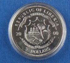 5 dollari Liberia first man on the Moon 2000 ARGENTO