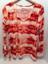 Womens Bohemian Fall Fashion Bobbie Brooks Orange White Tie Dye Knit Top Large
