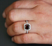 3Ct Cushion Cut Red Ruby Diamond Accent Halo Engagement Ring 14K White Gold Over