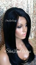 Lace Front Wig Human Hair Blend Straight Layers Bangs Jet Black #1 Heat Safe Ok