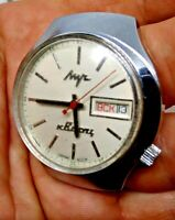 VINTAGE Watch USSR LUCH ELECTRO-MECHANICAL HYBRID QUARTZ cal.3055 USSR NOT WORK.