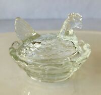 Degenhart Art Glass Clear Hen on Nest Chick Salt 2.5 x 2.x 2""""