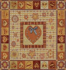 SET OF 4 DECORATIVE TAPESTRY TABLE NAPKINS Orange Heart Ornament PLACEMAT ACCENT