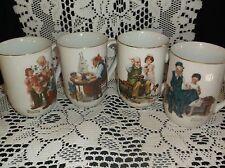 "Norman Rockwell mugs, ""Museum"" 1982 gold trim"
