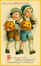 Set of TWO 4x7 Vintage Jolly Halloween Boys w Mask & Pumpkin Quilt Fabric Blocks