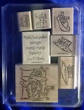 Stampin' Up Wood Mounted Rubber Stamps Going Out In Style 2004 Set Of 7 Crafts