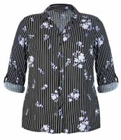 AUTOGRAPH Shirt Plus Size 16 18 20 22 Black Top Floral Blouse Long Sleeve