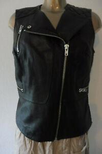 IBANA NL Desiger echt Leder Weste-Jacke Biker weich schwarz Gr L 40 top F401