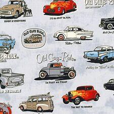 Classic Cars, Trucks, Gray Back, Old Guys Rule, Robert Kaufman (By 1/2 yard)