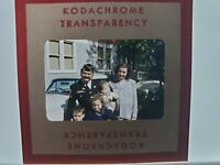 KodaChrome Photographic Slide Outdoors Man In Uniform With Family, 50's Pontiac