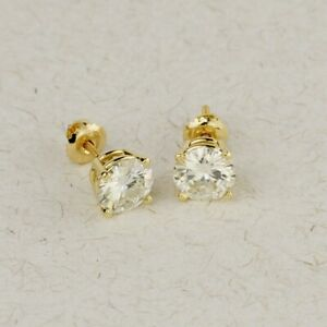 2.00 Ct Round Cut DEF Colorless White Moissanite 14K Yellow Gold Stud Earrings
