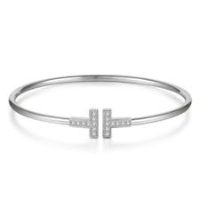 Women's Bracelet Silver Diamond Double T Charm Cuff Bangle Jewelry Adjustable