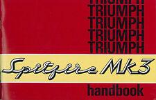 1968 TIUMPH SPITFIRE MK3 BETRIEBSANLEITUNG HANDBOOK OWNERS MANUAL ENGLISCH