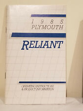 1985 Plymouth RELIANT Operating Instructions & Product Information