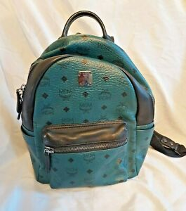 AUTHENTIC MCM BACKPACK TEAL BLACK MEDIUM UNISEX