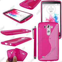 Housse Etui Coque Silicone Motif S-line Gel Souple Rose LG G3 D855 + Stylet
