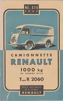 notice d'entretien camionnette RENAULT 1000kg type R 2060 (1947)