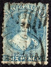New Zealand 1871 Sg 135 6d blue Fine Used