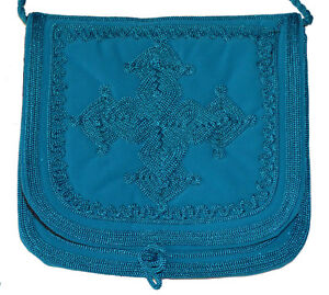 Moroccan Suede Pouch Shoulder Purse Handbag Handmade Embroidered MED Turquoise