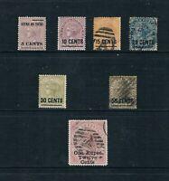 Ceylon 1885 5¢ to 1R12¢ QV Surcharges -Compl Set -SC 124-130 [SG 187-193] M/U B1