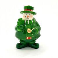 "Irish Lucky Shamrock Snowman Christmas Ornament Figurine 4"" Tall Green Gold Pipe"