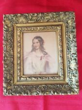 "Wood Frame Victorian Lady Water Color David Ashley 7.75x8.5"" Vintage 1941 Ornate"