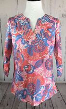 Boden Tunic Shirt Pink Blue Floral Embroidered  Neck Size 6