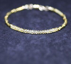 Natural Citrine and Bali Bead Bracelet Yellow Gold Vermeil , November Birthstone