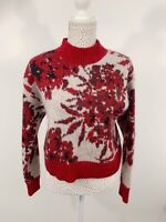 Autograph Red Floral Long Sleeve Jumper Top Italian Fabric Size 10 Mohair Blend