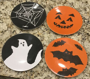 Pottery Barn Kids Set 4 Halloween Pumpkin Bats Ghost Spider Web Melamine Plates