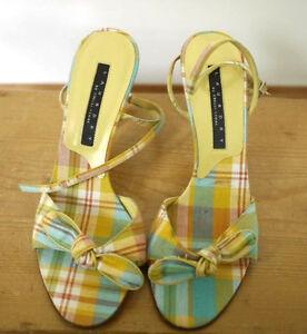 LAUNDRY Shelli Segal Colorful Madras Plaid Peep Toe Ankle Strap Sandal Pumps 6.5