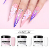 3Bottles WHITE CLEAR PINK Acrylic Powder for Nail Art False Tips NICOLE DIARY
