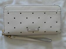 NEW AUTH FOSSIL JULIA ZIP CLTCH R  COLOR COCONUT LEATHER WOMENS WALLET