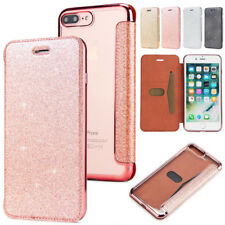 For iPhone X 6s 7 8 Plus Bling Flip Leather Wallet Plating Soft Clear Back Case