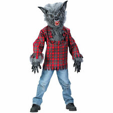 WEREWOLF GRAY REALISTIC WOLF CHILD HALLOWEEN COSTUME BOYS SIZE MEDIUM 8-10