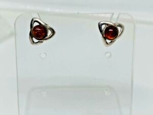 Gorgeous Real Baltic Amber Celtic Knot Stud Earrings 925 Solid Silver #12269