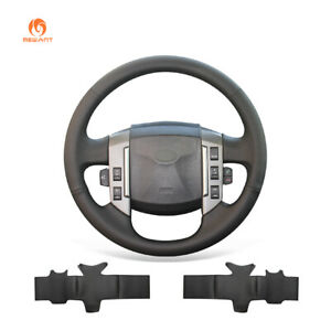 DIY Black PU Leather Steering Wheel Cover for Land Rover Discovery 3 2004-2009