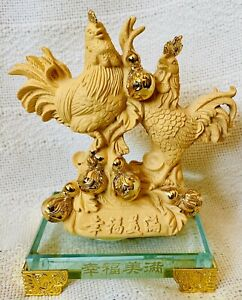 """Feng Shui Statue Rooster Chicken Resin Matte finish & Golden finish Chinese 4x5"""""""