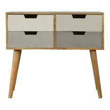 Nordic Mid Century Style 4 Drawer Hall Console Table With Grey Painted Drawers