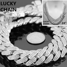 "14K WHITE GOLD FINISH BLING OUT HEAVY CUBAN LINK CHAIN NECKLACE 24""x18mm 358g"