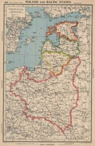 POLAND & BALTIC STATES. Showing 1939 German-Soviet partition line 1944 old map