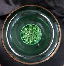 "Rare Vintage Uranium Glass 11"" Rolled Edge Gold Black Rim Console Bowl w/ Frog"