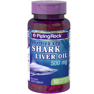 Eco Shark Liver Oil 500 mg/Squalene/Alkoxyglycerols 100 Softgels by Piping Rock