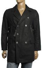 New Alfani Slim Fit Faux Leather Trim Wool Blend Double Brest  Peacoat Coat L