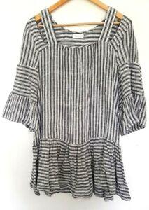 TIGERLILY Ladies Designer Blue/White Striped 3/4 Sleeve Mini Dress size 8 EUC