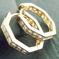 HOOP HUGGIE EARRINGS GENUINE 18K ROSE G/F GOLD DIAMOND SIMULATED ANTIQUE DESIGN